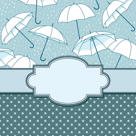vector vintage frame with umbrellas Vector