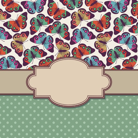 vector vintage frame with butterflies Illustration