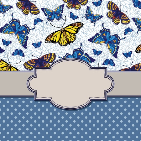 vector vintage frame with butterflies Vector