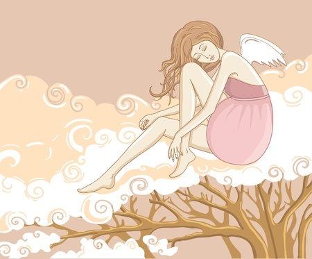 interesting music: angel is sitting on the cloud Illustration