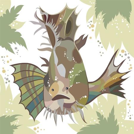 big clown fish: exotic fish Illustration
