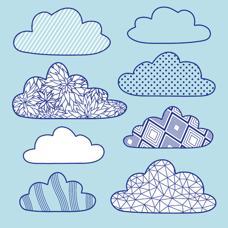 vector clouds set isolated on blue Vector