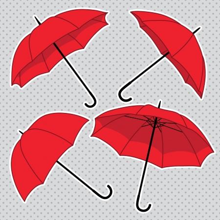 vector set with umbrellas
