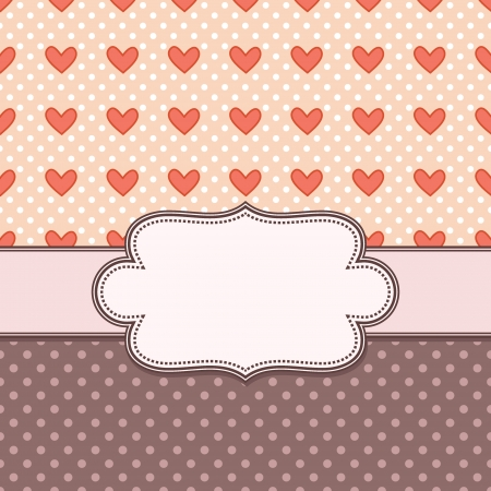 vector vintage frame with hearts Vector