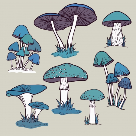 Vector set with mushrooms Stock Vector - 23648171