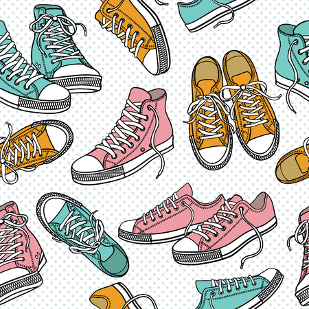 Seamless pattern with sneakers