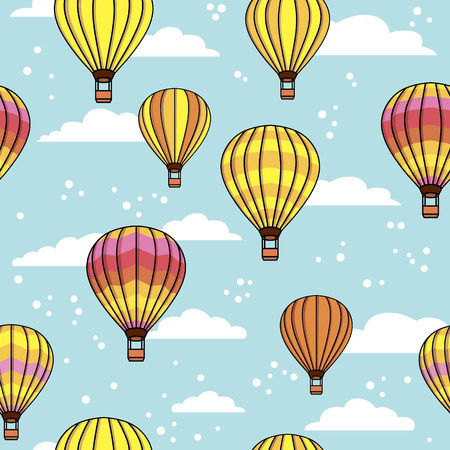 vector pattern with clouds and balloons Vector