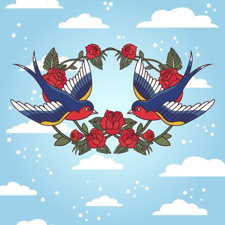 tatouage oiseau: Ancien cadre de l'�cole avec des roses et des oiseaux
