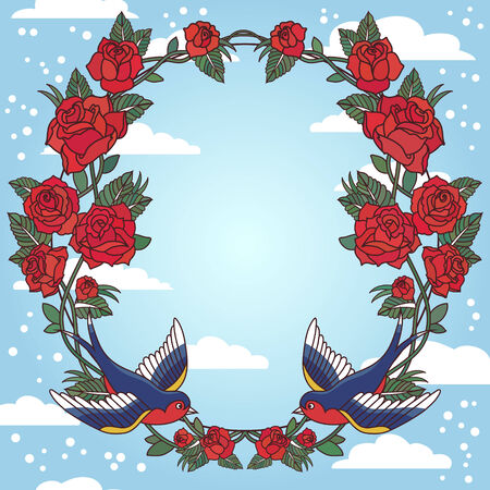 Old school frame with roses and birds Vector