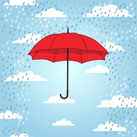 romantic card with umbrella and rain Vector