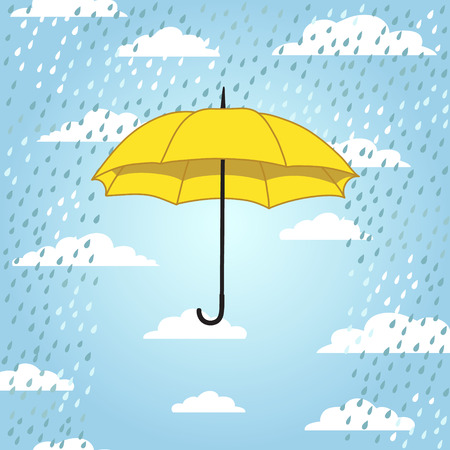 cartoon umbrella: romantic card with umbrella and rain Illustration