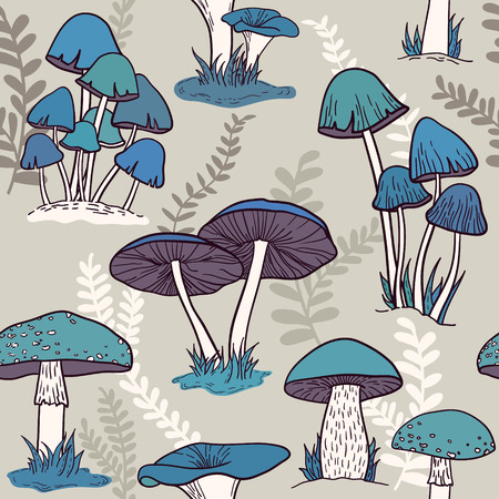 Colorful mushrooms seamless vector pattern Vector