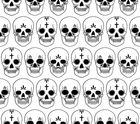 pattern with skulls Vector