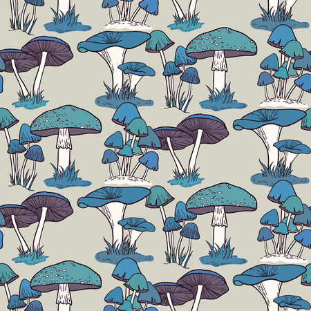 Colorful mushrooms seamless pattern Vector