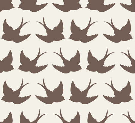 old school pattern with birds Illustration