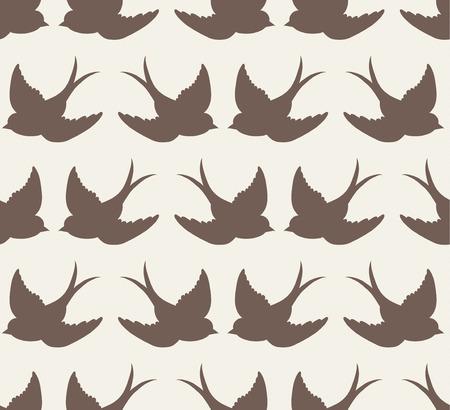 rose: old school pattern with birds Illustration
