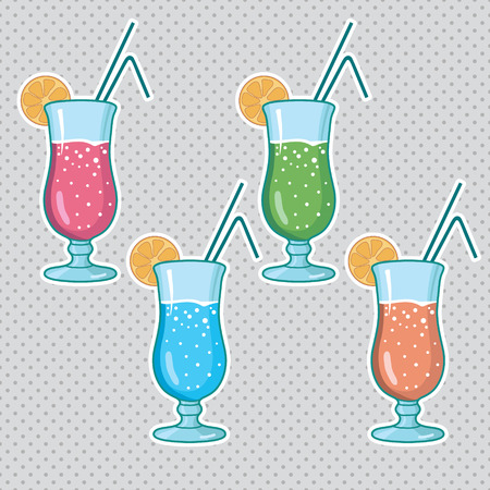 Set of alcoholic cocktails isolated on white background Vector