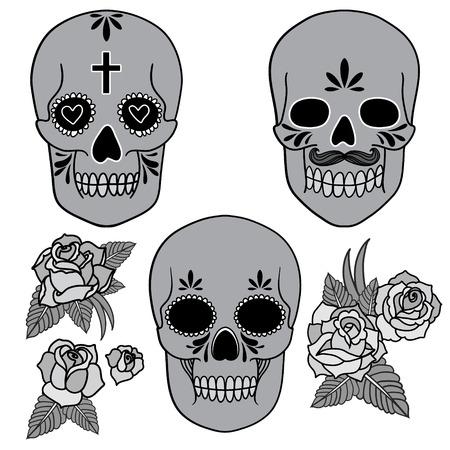 Day of the dead  Set of skulls  Vector illustration  Vector