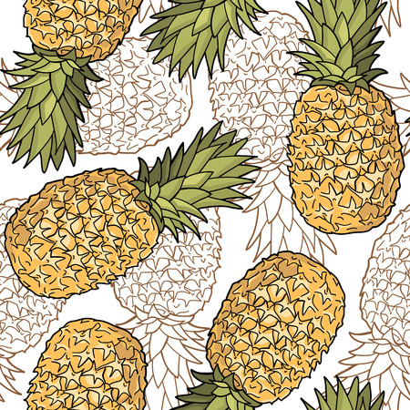 Seamless pattern with pineapples  Graphic stylized drawing  Vector illustration