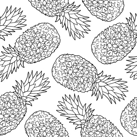 pineapple slice: Seamless pattern with pineapples  Graphic stylized drawing  Vector illustration