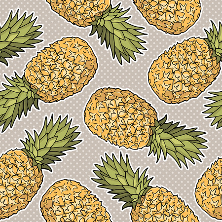 Seamless pattern with pineapples  Graphic stylized drawing  Vector illustration Vector