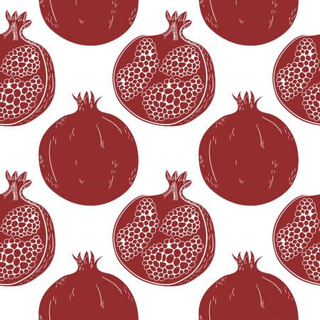 Seamless pattern with hand-drawn pomegranate Vector
