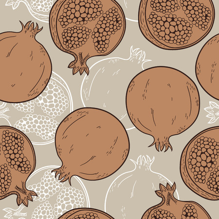 pomegranate: Seamless pattern with hand-drawn pomegranate Illustration