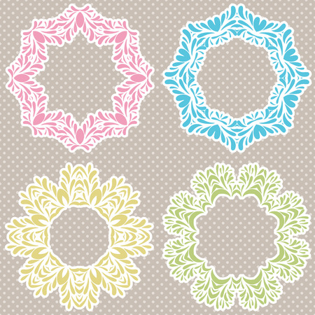 scalloped: Collection lace frames  Vector illustration