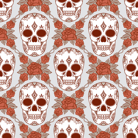 pattern with skulls Vector