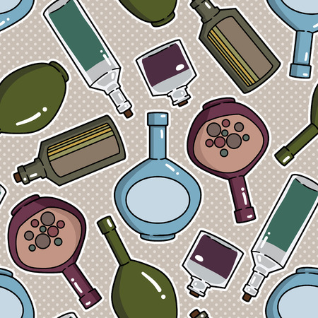 alcohol series: Background with bottles ,seamless pattern with wine bottles Illustration