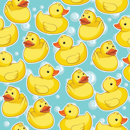 Pattern with yellow ducks Vector