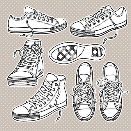 set with yellow sneakers isolated on white Illustration