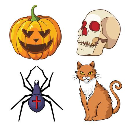 Halloween icons set  pumpkin, skull, spider, red cat  Ilustracja