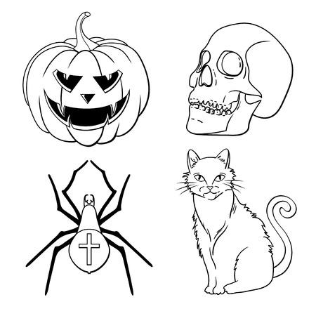 Halloween icons set  pumpkin, skull, spider, red cat  Vector