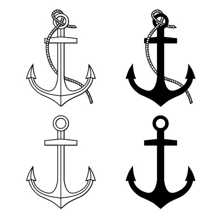 Vector set with isolated anchors  Black and white Stock Illustratie