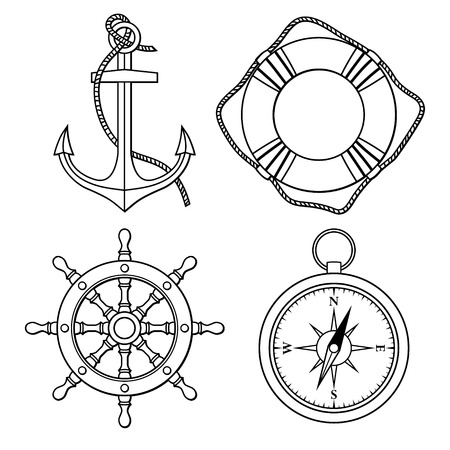 navy ship: Vector set with isolated anchor, lifebuoy, ship s wheel, compass  Black and white Illustration