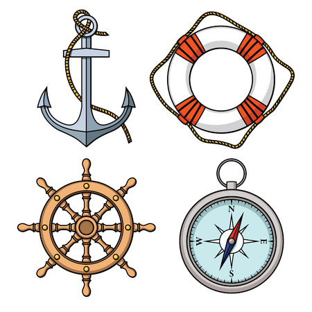 Vector set with isolated anchor, lifebuoy, ship s wheel, compass  Black and white Illustration