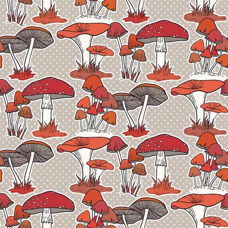 Colorful mushrooms seamless vector pattern Ilustração