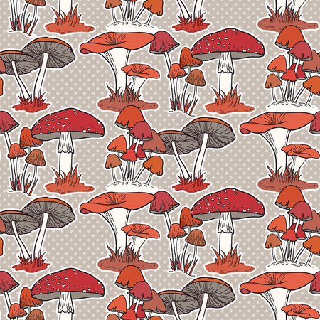 Colorful mushrooms seamless vector pattern Illustration