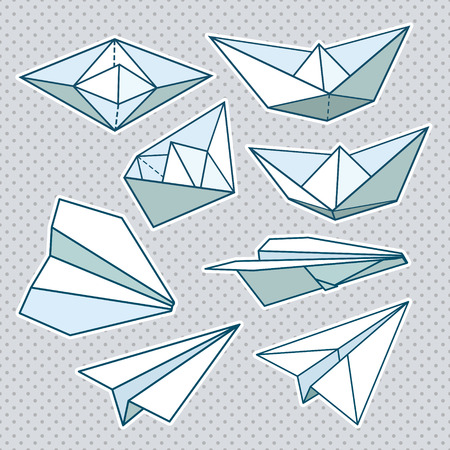Vector set  paper planes and paper ships   Vector