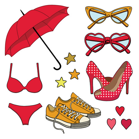 vector set with fashion accessories Vector