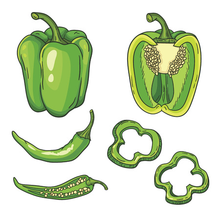 set with vegetables  peppers isolated on white Illustration