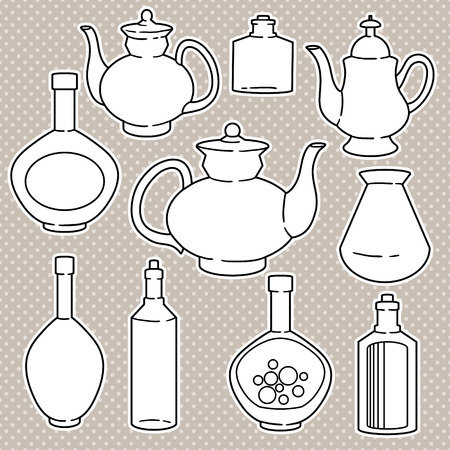 abstract silhouettes of kitchen dishes Vector