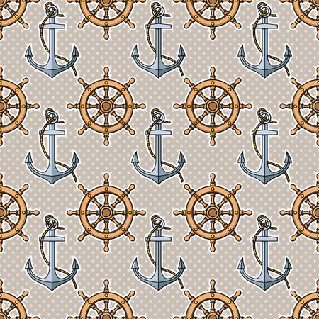 pattern with anchors and ships wheels Vector