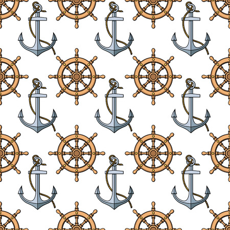 pattern with anchors and ships wheels Illustration