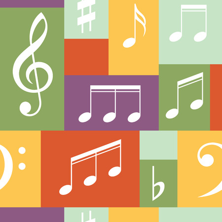 crotchets: Vector musical pattern with notes
