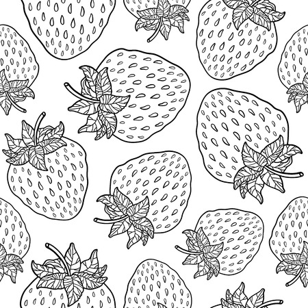 Seamless pattern with strawberries. Graphic stylized drawing. Vector illustration