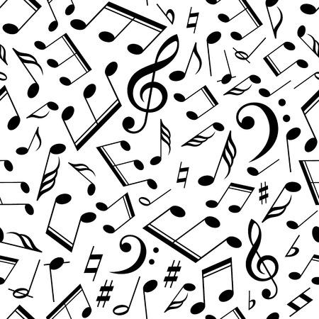 clave de fa: Vector patrón musical con notas