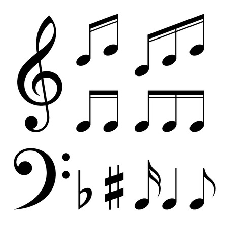 Set of music notes vector. Black and white silhouettes