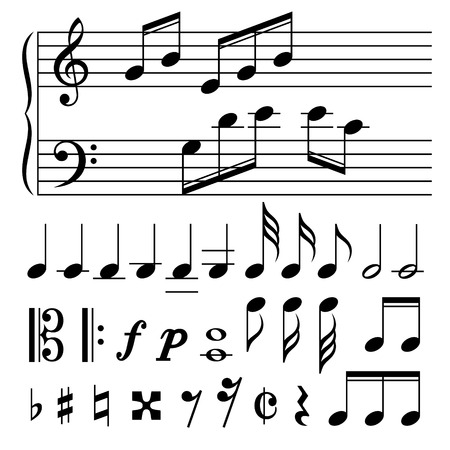 music notes vector: Set of music notes vector. Black and white silhouettes